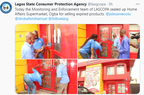 Lagos state government seals off supermarket for selling expired products (photos)