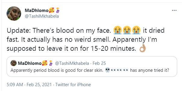 Lady shares aftermath of rubbing her period blood on her face