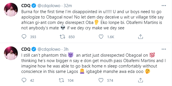 CDQ calls out Burna Boy for