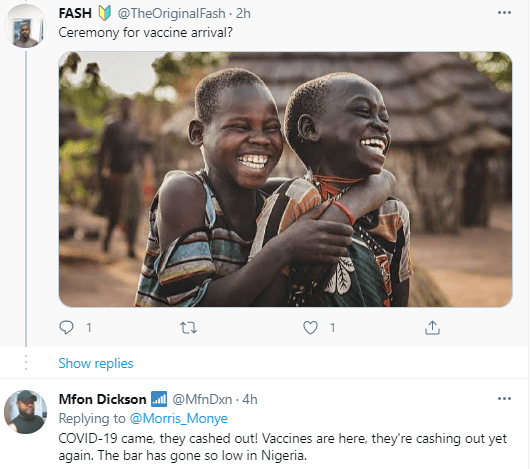 Nigerians react to trending photo of a banner erected by the PTF announcing a reception ceremony for the COVID19 vaccines