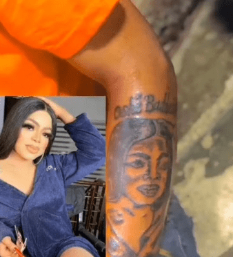 """Good morning ma. Please help my son"" - Nigerian mum greets Bobrisky as her son tattoos his face on his hand (video)"