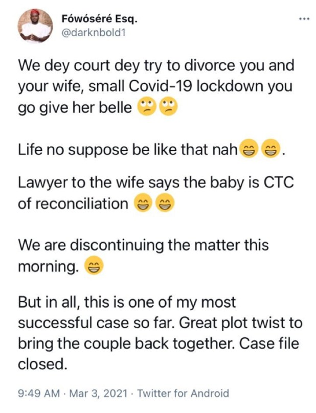 Lawyer discontinues divorce case of a couple after the husband impregnated his wife during COVID19 lockdown