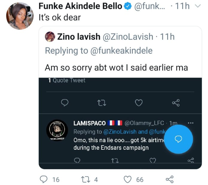 Funke Akindele responds after fan called her stingy for not doing giveaway