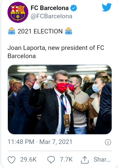 Joan Laporta wins Barcelona presidential election rasing hopes Lionel Messi could remain at the club