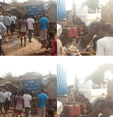 Truck crushes shop owner to death in Abeokuta (photos)