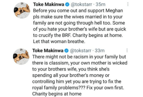 Before you come out and support Meghan, pls make sure the wives married in to your family are not going through hell too - Media personality, Toke Makinwa