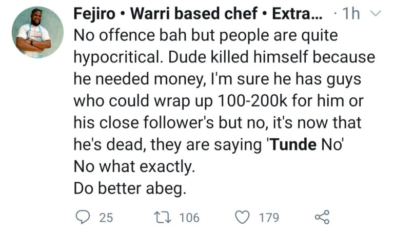 """Nigerians mourn as Twitter influencer named Tunde allegedly commits suicide one day after tweeting """"I need money like mad."""""""