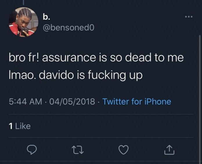 Davido reacts as it