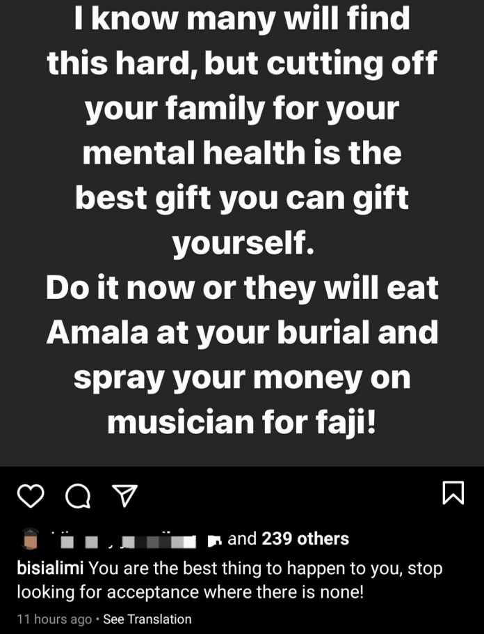 """""""Cutting off your family for your mental health is the best gift you can give yourself"""" -  Bisi Alimi writes"""