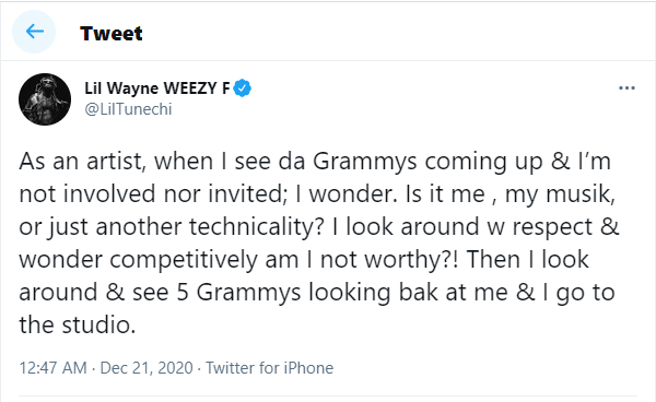 """Fuk the Grammys"" - Lil Wayne writes after the Recording Academy failed to nominate his latest album"