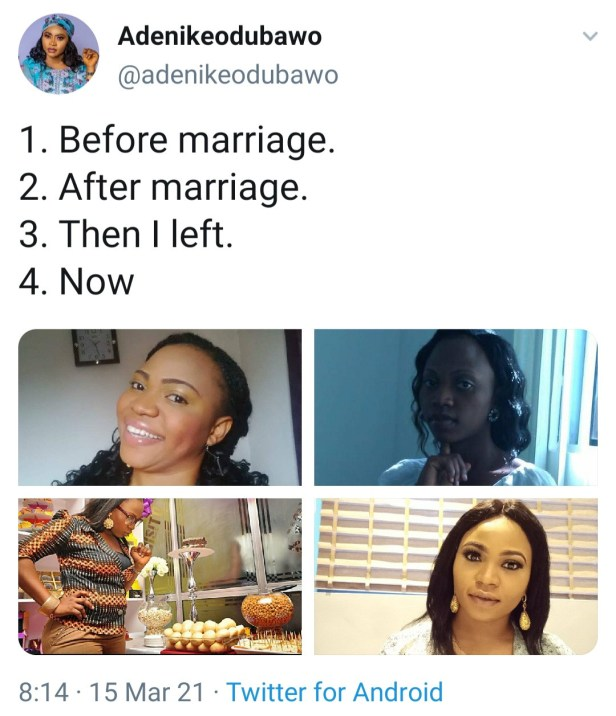 Woman shares photos of herself before, during, and after marriage to show the effect being married had on her