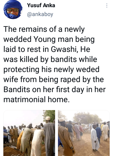 Young man reportedly killed by suspected bandits in Zamfara while trying to protect his newly wedded wife from being raped on their wedding night