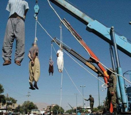 Four men are hanged in Iran for gang-raping woman in front of her husband who they tied up and forced to watch