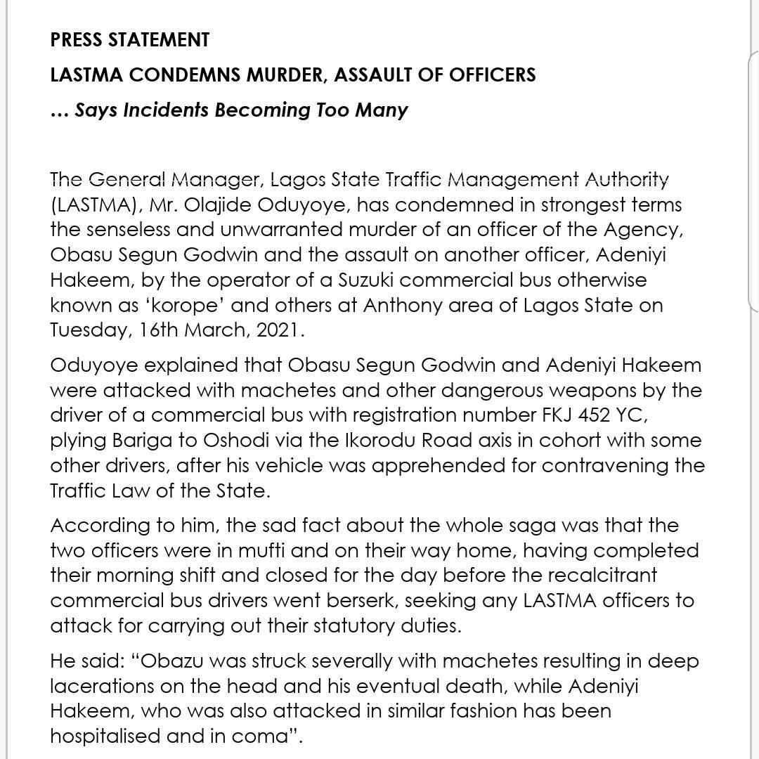 Driver hacks LASTMA officer to death