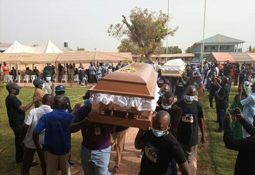 Photos from the funeral of Health Union leader, Comrade Silas Adamu, his wife and daughter in Kaduna