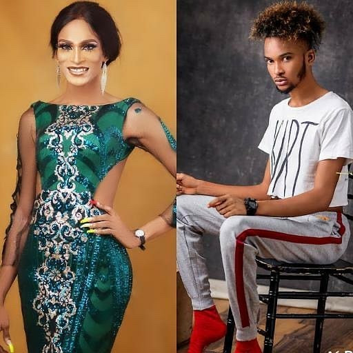 Before and after photos of Nigerian transgender, Buchi Alexandra, who is currently in a brawl with Bobrisky