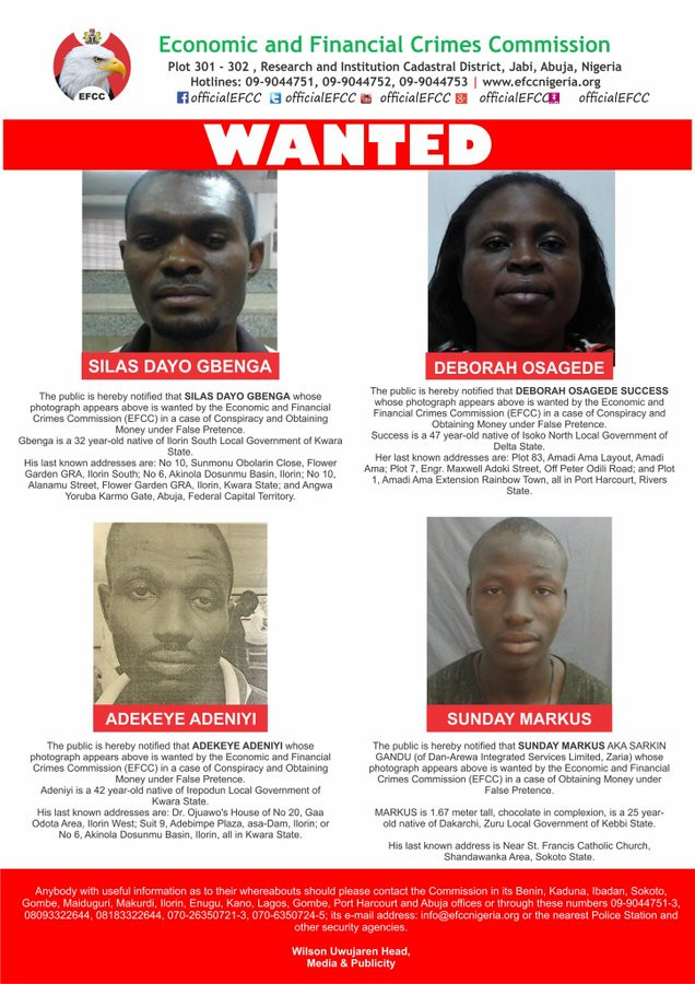 Four declared wanted by EFCC for various fraud-related crimes
