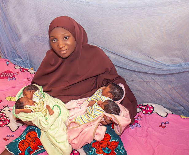 Unemployed Nigerian graduate and his wife welcome quadruplets
