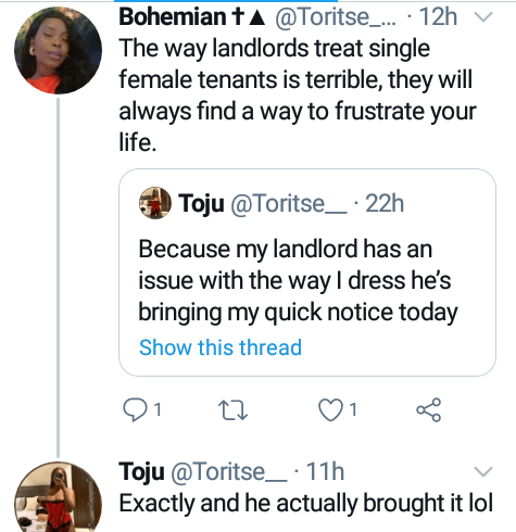 Nigerian woman says landlord served her quit notice because he has issue with the way she dresses