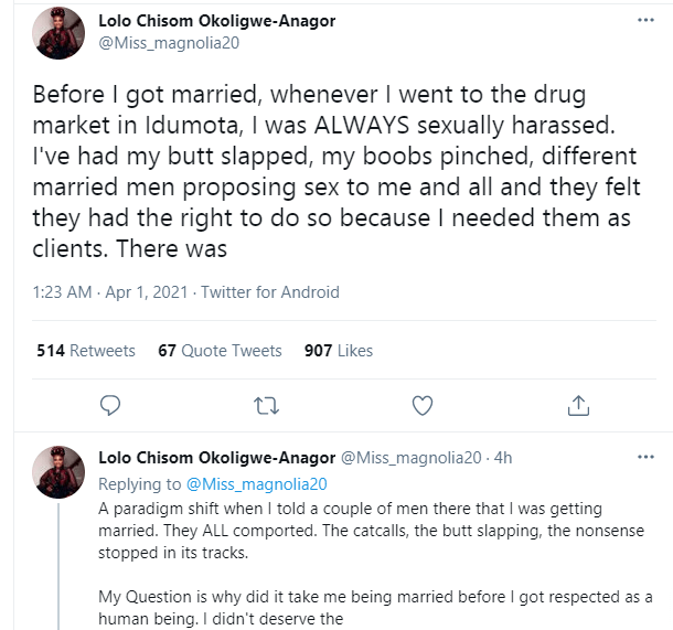 Lady narrates how men at Idumota market stopped sexually harassing her after she told them she was getting married