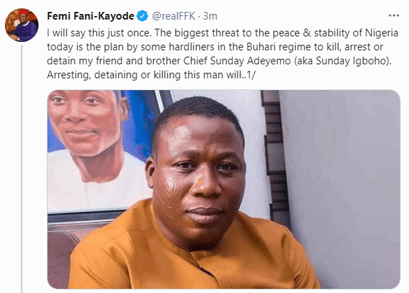 The biggest threat to the peace and stability of Nigeria today is the plan to kill, arrest or detain Sunday Igboho - FFK