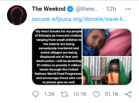 The Weeknd announces $1 million donation to feed women and children in Ethiopia