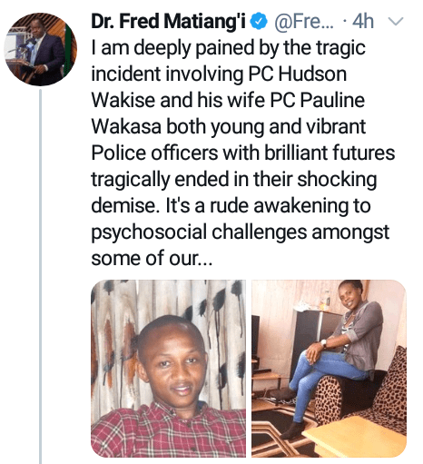 Kenyan police officer kills his wife then shoots himself after she allegedly accused him of infidelity