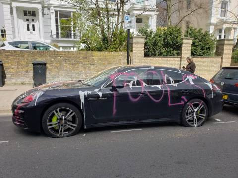 Porsche worth ?100,000 is vandalized in belated April Fool