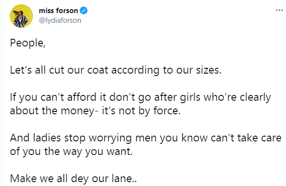If you can?t afford it don?t go after girls who?re clearly about the money - Actress Lydia Forson
