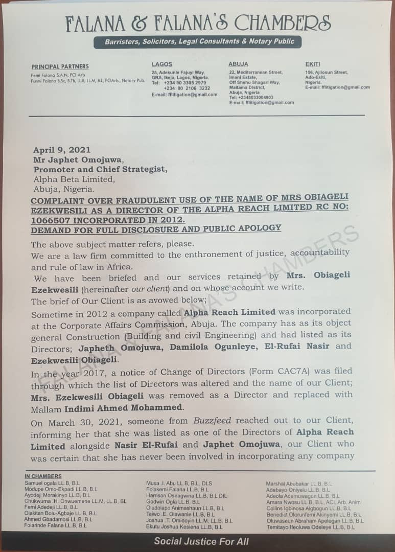 Oby Ezekwesili writes Japheth Omojuwa demanding a public apology for enlisting her name as a director in his company without her approval and consent