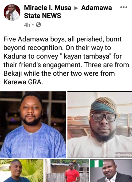 Five Adamawa men burnt to death in ghastly motor accident on their way to a friend