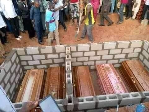 5 Adamawa Friends Burnt To Death In Motor Accident Buried Amidst Tears (Photos)