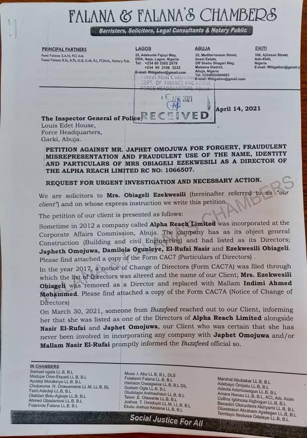 Update: Oby Ezekwesili petitions the police against Omojuwa Japheth for