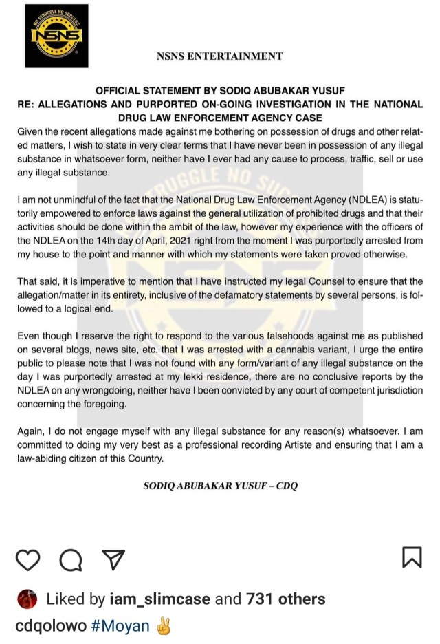 """""""I have never been in possession of any illegal substance """" Rapper CDQ releases statement after NDLEA officials said he was arrested for being in possession of Cannabis"""