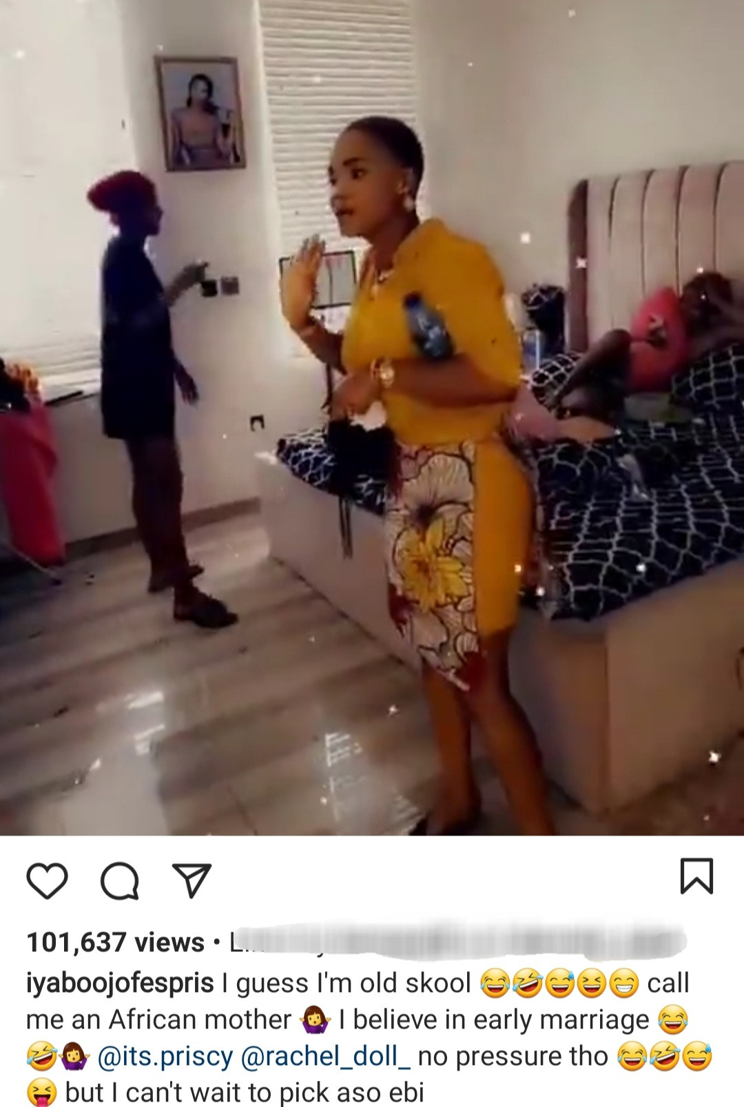 Actress, Iyabo Ojo tells her daughter she must be engaged at 23, married at 24 and have her first child when she