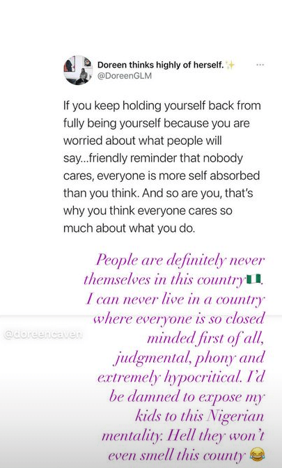 """""""I can never live in a country where everyone is judgmental, phony and extremely hypocritical"""" - International model, Ify Jones says she won"""