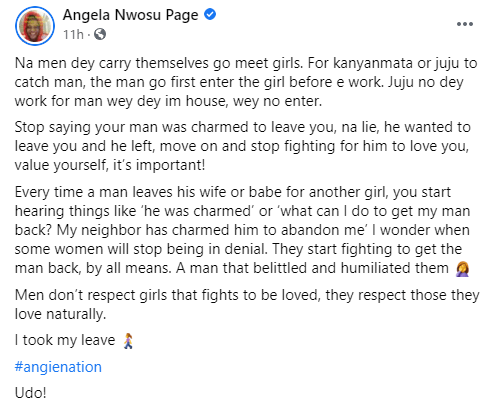 Stop saying your man was charmed to leave you, he wanted to leave you and he left - Sex therapist, Angela Nwosu tells women