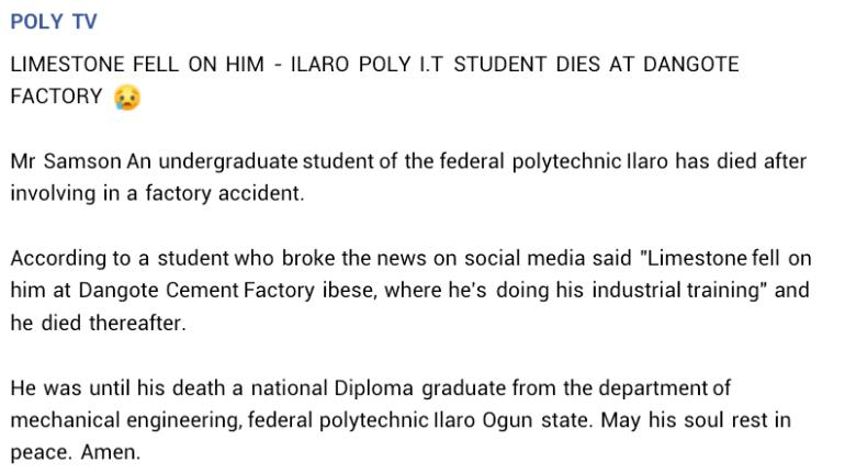 Ilaro poly student killed