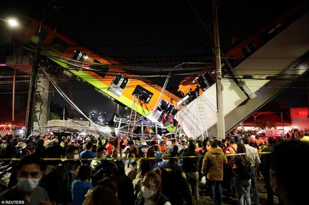 Horrific moment overhead train collapses onto roadway, killing 19 and injuring at least 70 in Mexico (photos/video)
