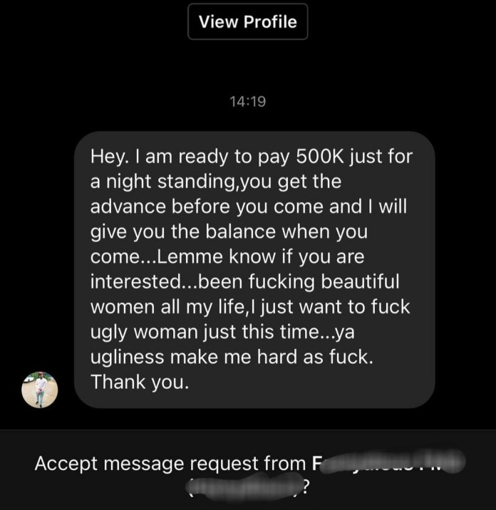 Adetutu OJ exposes chat with married man who offered to pay 500k for sex with her because he fantasies about sex with an
