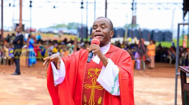 Protests rock Enugu following report of Father Mbaka allegedly missing, Ohanaeze Youth Congress gives FG 48 hours to ''produce him'' (video)