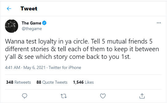 Rapper, The Game reveals how to test the loyalty of friends in your circle