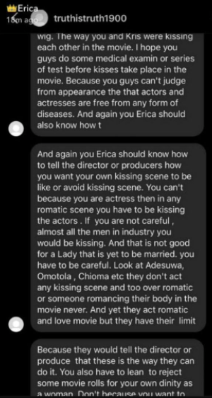 Fan scolds Erica Nlewedim for taking on a kissing role in a movie