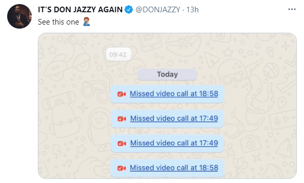 Don Jazzy shares chat from a lady who repeatedly called and asked him to send her money even if he doesn