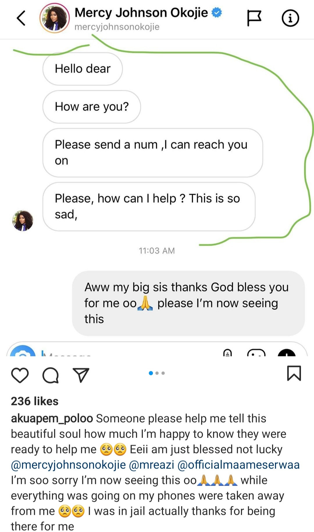 Akuapem Poloo shares messages Mercy Johnson and Mr Eazi sent to her while she was in jail