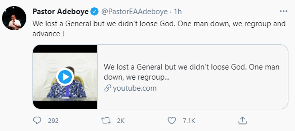 """""""One man down, we regroup and advance!"""" Pastor EA Adeboye speaks following his son"""