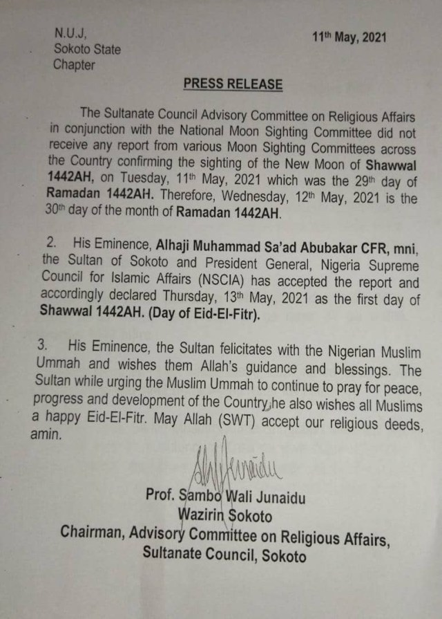 Ramadan fast continues as Sultan of Sokoto declares Thursday Eid-el-Fitr day