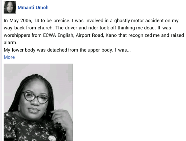 """""""My lower body was detached from the upper body"""" - Nigerian woman marks 15 years since she survived ghastly motor accident"""