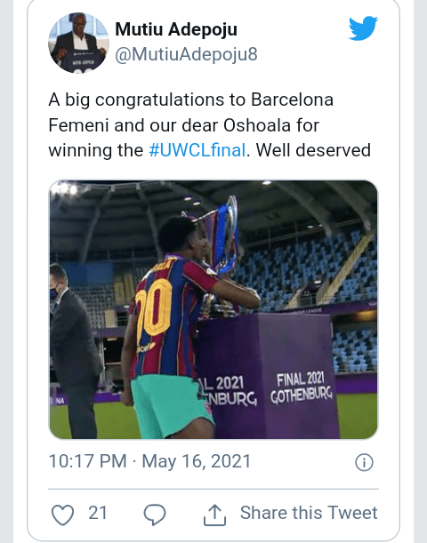 Asisat Oshoala becomes first African woman to win Champions League as Barcelona thrash Chelsea 4-0 in final (Photos)