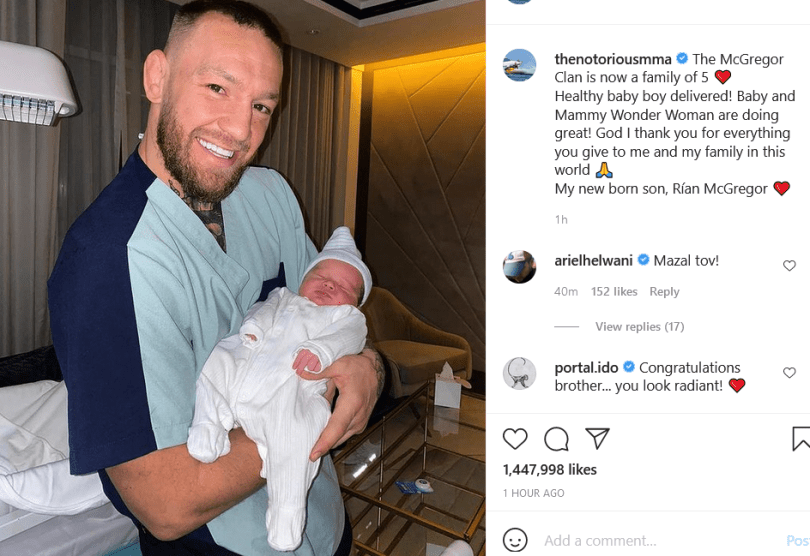Conor McGregor and fianc?e Dee Devlin welcome their third child together